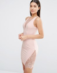 Naanaa Plunge Mini Dress With Lace Insert Nude Pink