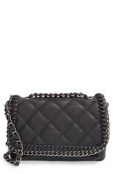 Steve Madden Quilted Flap Faux Leather Crossbody Bag Black