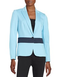 Anne Klein Paneled One Button Blazer Blue Dawn
