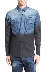 Men's Prps 'Crater' Resin Coated Ombre Denim Western Shirt
