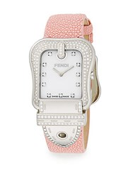 Fendi B. Diamond Mother Of Pearl Stainless Steel And Stingray Watch Pink