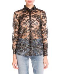 Saint Laurent Glittered Star Print Sheer Blouse Black