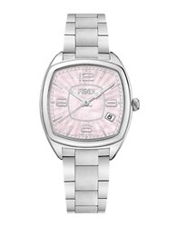 Fendi F221037500 Momento Pink Mother Of Pearl Satin Brushed Stainless Steel Link Bracelet Watch Silver