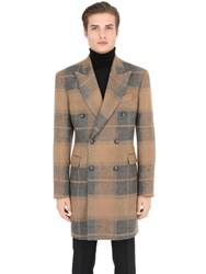 Trussardi Plaid Brushed Linen And Camel Coat