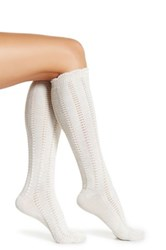 Shimera Ruffle Chain Knit Knee High Socks Brown
