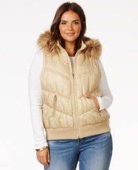 Inc International Concepts Plus Size Faux Fur Trimmed Hooded Puffer Vest Only At Macy's Gold Fever