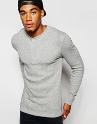 Asos Extreme Muscle Long Sleeve T Shirt In Grey Stretch Rib Jersey Greymarl