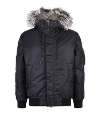 Solid Homme Fox Hood Jacket Male Navy