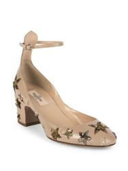 Valentino Star Studded Leather Ankle Strap Block Heel Pumps Poudre Black