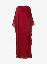 Valentino Floor Length Silk Gown Red Black