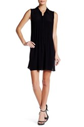 Max Studio Pleated Front Sleeveless Dress Black
