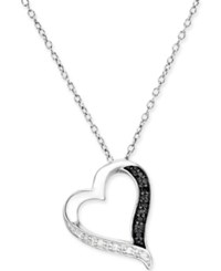 Macy's Black And White Diamond Heart Pendant Necklace 1 10 Ct. T.W. In Sterling Silver No Color