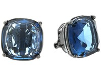 Lauren Ralph Lauren Hide And Chic Faceted Stone Clip Earrings Blue Hematite Earring