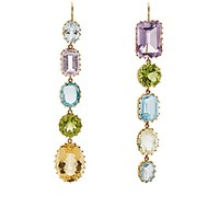 Renee Lewis Women's Mismatched Mixed Gemstone Drop Earrings No Color