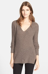 Autumn Cashmere Shaker Stitch Cashmere V Neck Sweater Mulch