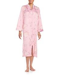 Miss Elaine Floral Print Zip Up Satin Robe Pink