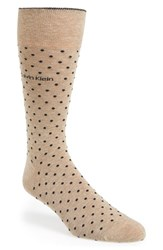 Men's Calvin Klein Dot Socks Beige Camel Heather