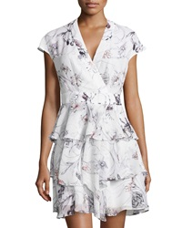 Marchesa Voyage Floral Print Ruffled Faux Wrap Dress Nautical Floral