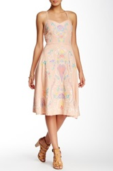 Champagne And Strawberry Embroidery Tube Cami Mid Length Dress Pink