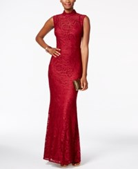 Betsy And Adam Open Back Lace Gown Wine
