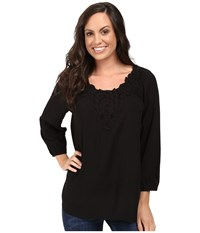 Scully Honey Creek Nicole Simple Lace Trim Top Black Women's Clothing