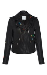 Mira Mikati Dance All Night Leather Jacket Dark Grey