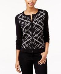 Charter Club Petite Sequined Plaid Cardigan Only At Macy's Deep Black Combo