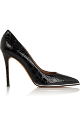 Givenchy Lia Croc Effect Patent Leather Pumps In Black With Silver Trim
