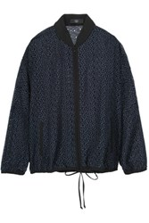 Tibi Silk Trimmed Broderie Anglaise Cotton Jacket Navy