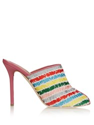 Malone Souliers Dawn Striped Satin And Leather Mules