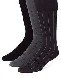 Calvin Klein Three Pack Plaid And Striped Socks Assorted