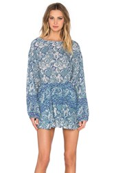 Free People Sun Printed Dress Blue
