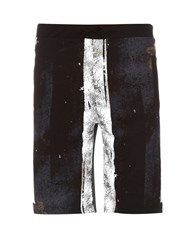 Hood By Air Acid Rin Distressed Graphic Print Shorts