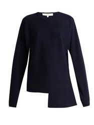 Tibi Merino Wool Crew Neck Sweater Navy