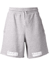 Off White Striped Track Shorts Grey