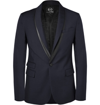Mcq By Alexander Mcqueen Slim Fit Faux Leather Trimmed Wool Blend Blazer Blue