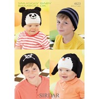 Sirdar Snuggly Baby Bamboo Dk Hats Knitting Pattern 4623