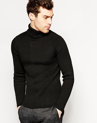 United Colors Of Benetton Ribbed Roll Neck In Skinny Fit Black