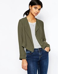 Asos Cropped Blazer With Collar Khaki Green