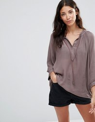 B.Young Juliany Button Through Blouse Mocha Brown