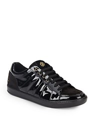 Roberto Cavalli Patent Leather Lace Up Sneakers Black