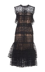 Costarellos Tiered Guipure Lace Short Dress Black