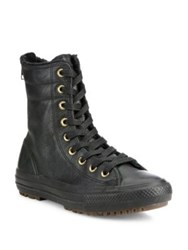 Converse Chuck Taylor Hi Rise Leather And Faux Fur Boots Black
