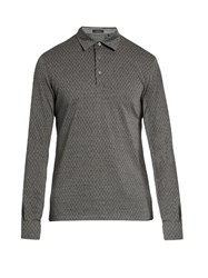 Ermenegildo Zegna Wool And Cotton Blend Long Sleeved Polo Shirt Dark Grey