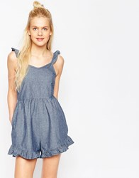 Asos Denim Frill Hem Light Denim Romper With Lace Back Midwash Blue