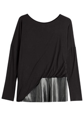 Steffen Schraut Faux Leather Detailed Long Sleeve Top Black