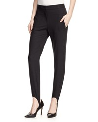 Halston Wool Blend Stretch Stirrup Pants Heather Black