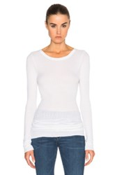 Enza Costa Rib Long Sleeve Crew Top In White