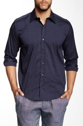 Lorenzo Uomo Solid Navy Stretch Long Sleeve Trim Fit Shirt Blue