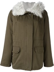 Army Yves Salomon Short Hooded Parka Coat Green